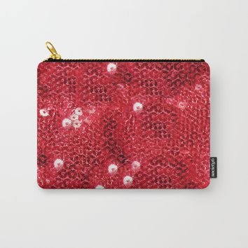 Faux Red Sequin Background Carry-All Pouch by gx9designs