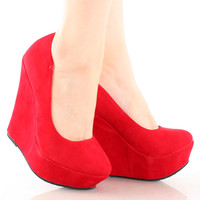 Trendy-33 Slip On Platform High Heel Wedge Pump Shoes