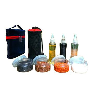 Condiment For BBQ Sause Container Plastic Spice Jar Outdoor Camp Bottles Set With Organize Carry Storage Bag Camping