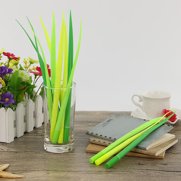 1 Pcs Tiny Green Grass Gel Pen Blade Grass Potting Decoration Stationery Office Supplies Plant Pen