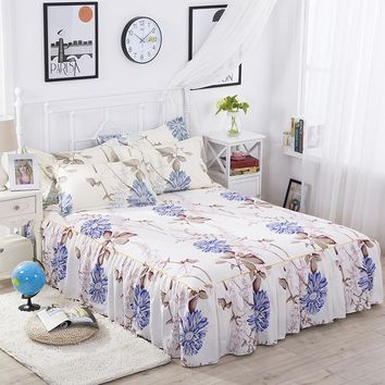 Bedskrit elastic fitted sheet flower printed bed cover pillowcase mattress cover bedclothes bedspreads cushion cover 3pcs/set