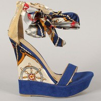 Liliana Honfleur-21 Nautical Open Toe Wedge