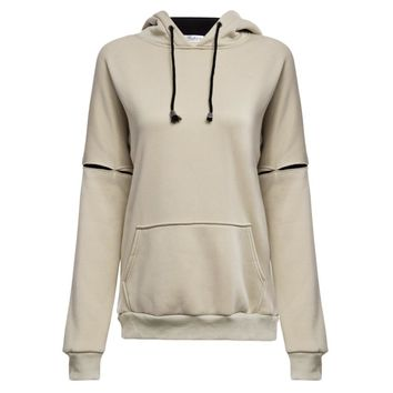 Casual Hooded Long Sleeve Pocket Design Drawstring Color Block Hoodie for Women