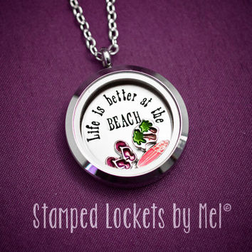 Life is Better at the Beach - Hand Stamped Stainless Steel Necklace - Floating Glass Memory Locket - Beach Babe Jewelry - Surfer Girl Sandal