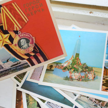 Vintage Soviet postcards-SET of 15-Russian city Kerch-USSR collectible-ww2 postcards-Lenin revolution-greeting card-post card-cccp-Russia