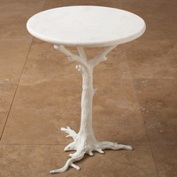 Global Views White Faux Bois Side Table 8.81027