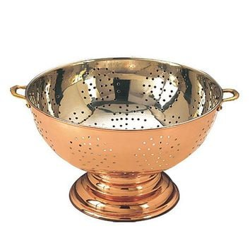 Old Dutch 12-in. Copper Footed Colander Centerpiece (Brown)