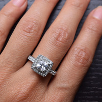 316L Stainless Steel Cubic Zirconia Halo Square Engagement and Wedding Band Ring