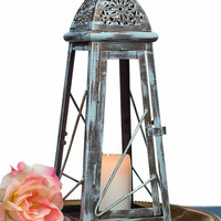Shabby Blue 13'' Scheherazade Exotic Lantern/ Moroccan Decor/ Candle Holder/ Shabby Wedding Lighting Centerpiece