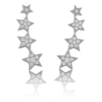Sterling Silver Cz Star Ear Crawler Stud Earrings