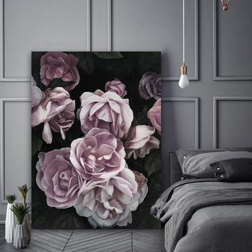 DUSTY PINK ROSES Canvas Painting Flowers Wall Art Poster and Print Texture Picture for Living Room Wall Decoration Home Decor