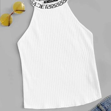 Plus Letter Neck Rib-knit Form Fitting Top
