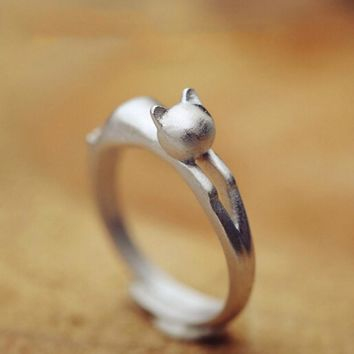 925 Sterling Silver Cat Ring Cute kitty opening ring for women bague femme Sterling Silver Jewelry