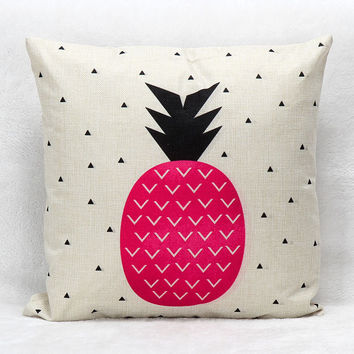 Vintage Printed Pillow Case Rose Pineapple Cushion Cotton Linen Cover Square 45X45CM