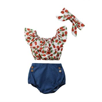 Pineapple Crop Top, Bloomers & Headband Set
