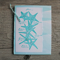 Seastar Greeting Card, Teal Handmade Notecard with Starfish, All Occasion Card, Ocean Inspired Any Occasion Card, Greetings from the Sea
