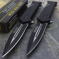 "2 x 8"" TAC FORCE SPRING ASSISTED FOLDING STILETTO TACTICAL KNIFE Pocket Open"