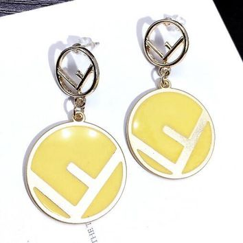 FENDI Fashionable Women Cute F Letter Circular Candy Color Pendant Earrings Accessories Jewelry Yellow