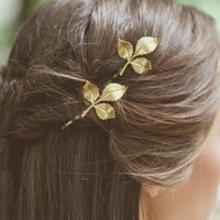 Gold Leaf Hair Pins Leaf Bobby Pins Leaf Hair Clips Bridal Hair Bobby Pins Bridal Hair Clips Rustic Woodland Wedding Bridal Hair Accessories