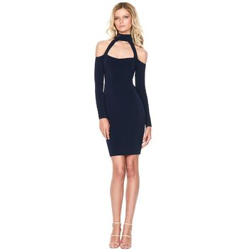New Sexy Women Bodycon Dress High Neck Cut Out Off Shoulder Long Sleeve Party Clubwear Mini Dress