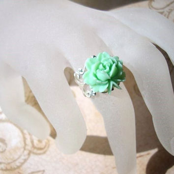 Mint Green Rose Ring  Resin Plastic Flower with by BellaStarGlam