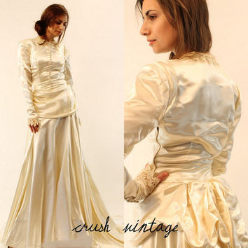 40s Silk Charmeuse Wedding Dress / 1940s Peplum and Bustle / The Unforgettable Dress