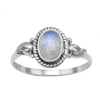 Oxidized Sterling Silver Rainbow Moonstone Ring