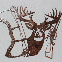 Buck Bow and Rifle Metal Wall Art Hunting Decor