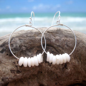 Hawaiian Authentic Small Puka Shells (14) on 925 Sterling Silver Circular Wire Small Hoop Earrings