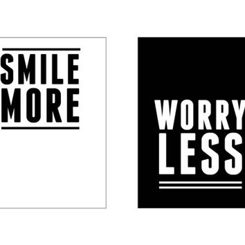 downloadable print, instant download, print wall, gallery wall, art, smile more worry less, fashion print, typography print, wall print