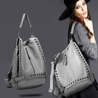 Punk Style Large Leather Unique Backpack Shoulder Studded Handfashion bag Crossbody fashion bag