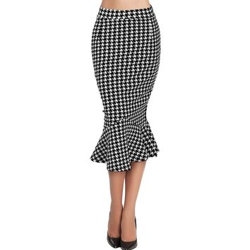 Women Vintage Houndstooth Midi Skirt Summer Female Bodycon Mermaid Skirts Wear to Work Office Sexy Pencil Skirt