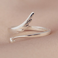 womens retro sterling silver angel wings ring adjustable gift 163