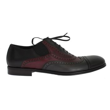 Dolce & Gabbana Black Gray Leather Wingtip Shoes