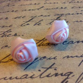 Handmade Light Pink 16mm Diameter Satin Rose Rosette Retro Victorian Fabric Stud Post Earrings USA