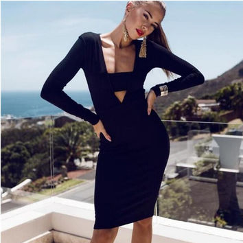 Black Keyhole Long Sleeve Bodycon Dress