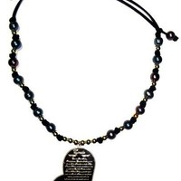 Black Iridescent Freshwater Pearl with heart shaped medal