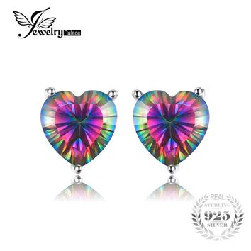 Sterling Silver Stud Earrings - Rainbow Coloured Resin Heart with Crystal jhGu7DO
