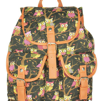 Back To School Hot Deal College Comfort On Sale Owl Pattern Casual Stylish Ladies Canvas Backpack [8070741959]