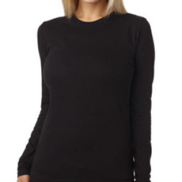 Next Level 3301L Women Long Sleeve Crew (Black / L)