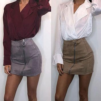 New 218 Fashion Women Ladies High Waisted Zipper Pencil Skirt Bodycon Suede Leather Mini Skirt