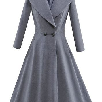 Grey Buttons Peplum Turndown Collar Long Sleeve Casual Coat