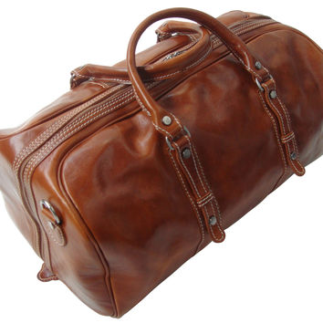 Genuine Italian Leather Holdall Tan Available in 3 Sizes 3 Colours