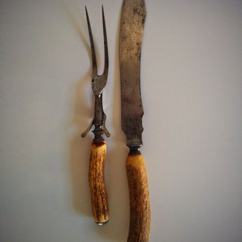 Vintage c.20's-30's Landers Frary & Clark Aetna Works Carving Set with Stag Horn Handles