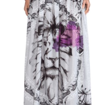 African Safari Beaded Maxi Beach Skirt in Black & White