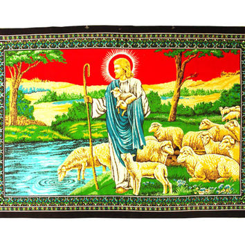 "Religious Fabric Wall Hanging - Craft Supply - Upcycle Project Supplies - 38"" x 52"""
