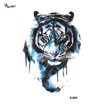 WYUEN Tiger Temporary Watercolor Tattoo Sticker Waterproof Women Fashion Fake Body Art Arm Tattoos 9.8X6cm Kids Hand Tatoo A-044