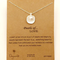 Dogeared Alloy Shell Love Pearl Sliver Plated Shorts Chains Clavicle Necklace