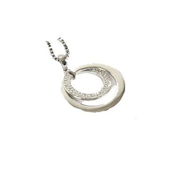 Silver Plated Double Circle Pendant Necklace For Women