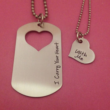 Couples Necklace Set I Carry Your Heart With Me Hand Stamped Dog Tag and Heart Necklace Set His and Hers  Military Spouse Anniversary